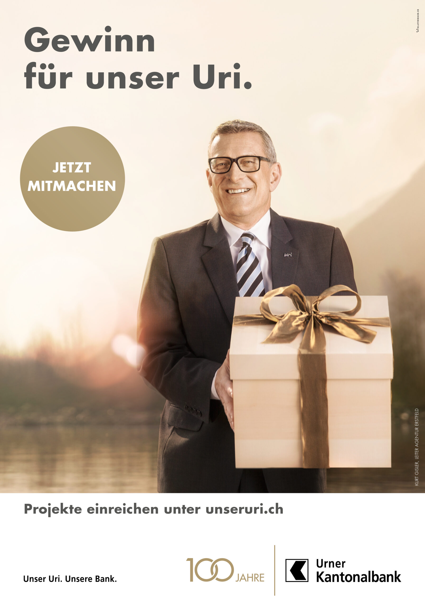 Meier & Kamer Fotografie Werbekampagne zum 100 Jahr Jubiläum der Urner Kantonalbank UKB, F4 Plakat