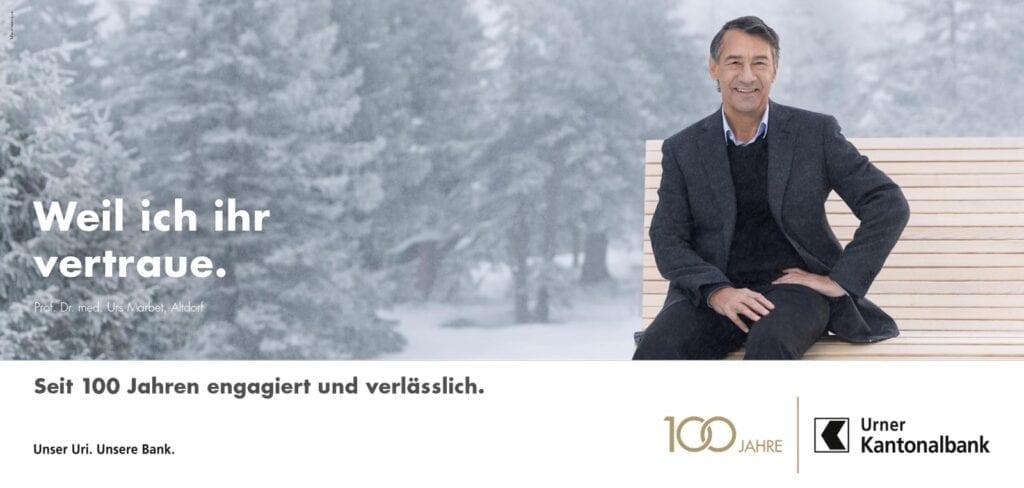 Meier & Kamer Fotografie Werbekampagne zum 100 Jahr Jubiläum der Urner Kantonalbank UKB, F12 Plakat