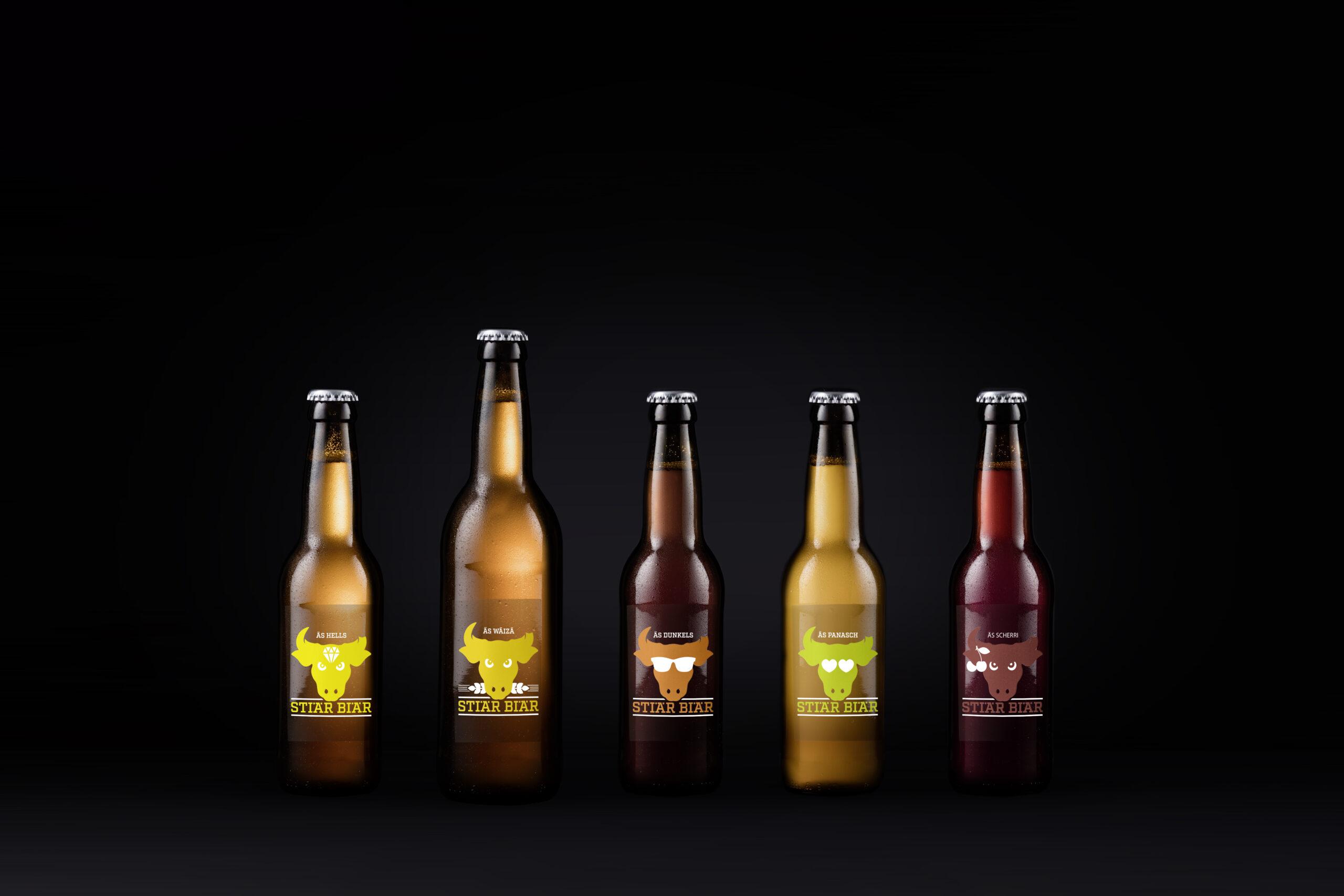 5 Flaschen von Stiär Biär im Fotostudio Meier & Kamer Werbefotografie: Werbekampagne, Produktfotografie, Studiofotografie, Postproduction, Nachbearbeitung, Schwyz, Uri