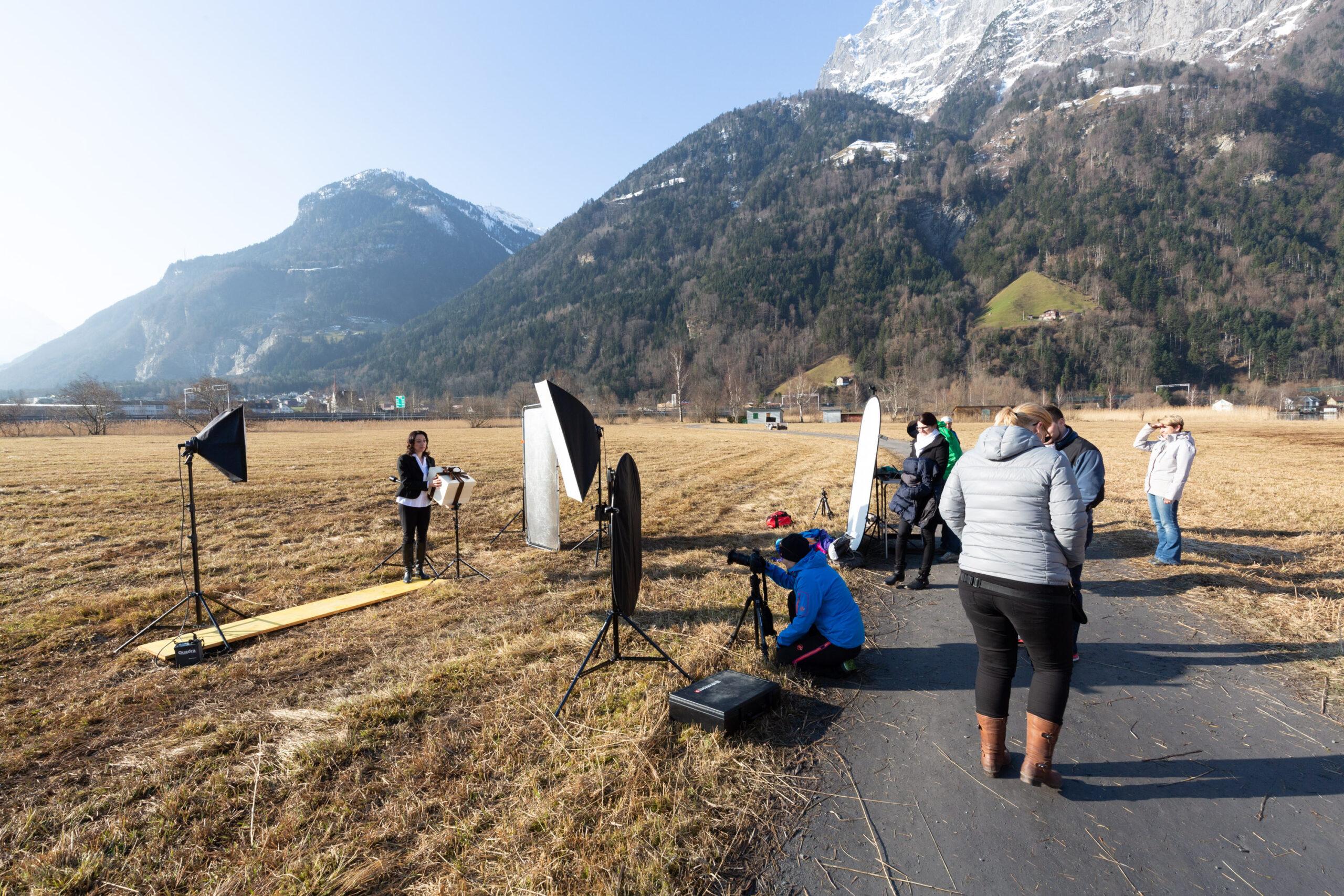 Meier & Kamer Making-of Fotografie Werbekampagne zum 100 Jahr Jubiläum der Urner Kantonalbank UKB, F4 Plakat